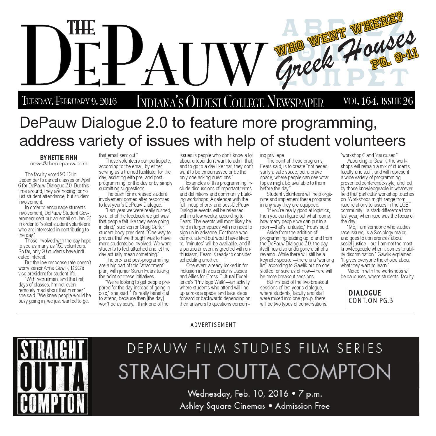 The DePauw Feb  9, 2016 by The DePauw - issuu