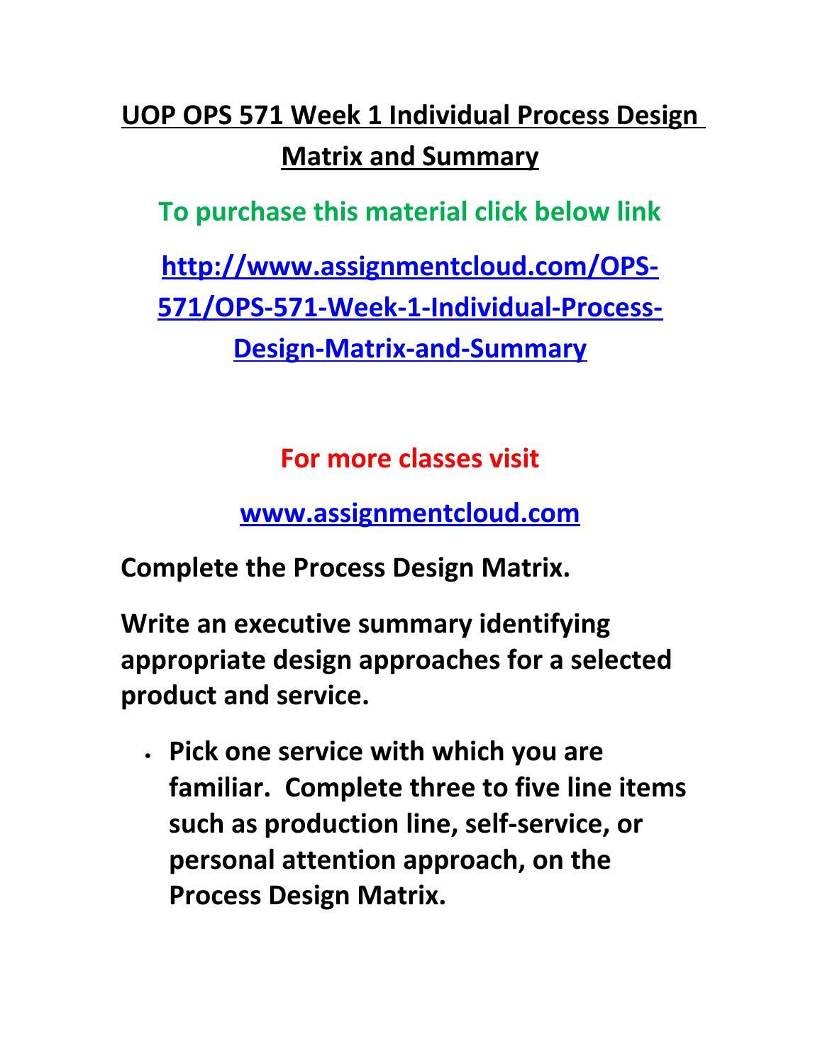 Executive summary process design matrix