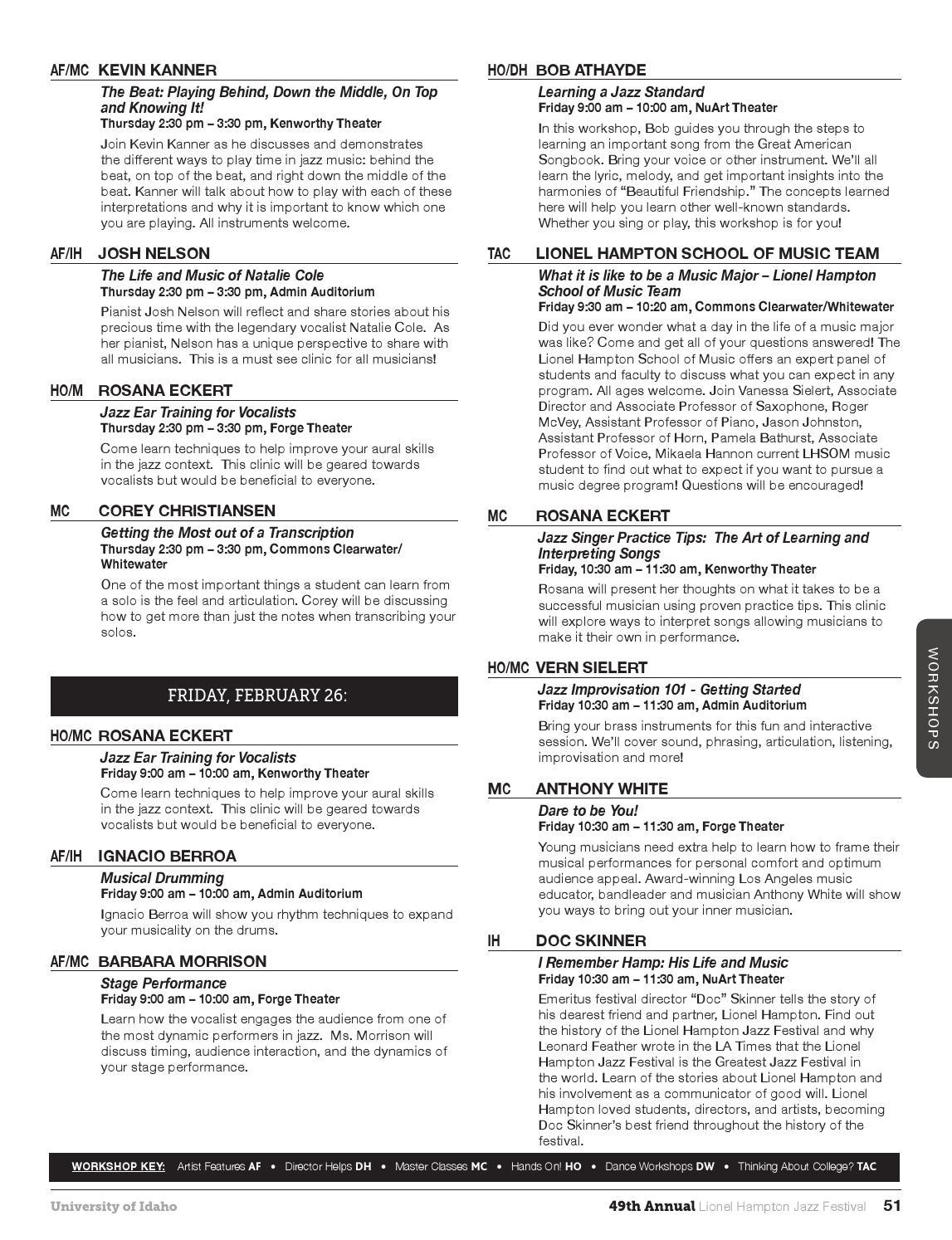 2016 Lionel Hampton Jazz Festival Program by The University