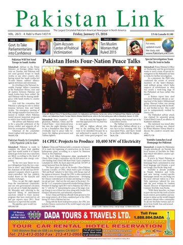 Pakistan Link The Largest Circulated Pakistani-American Newspaper in North  America