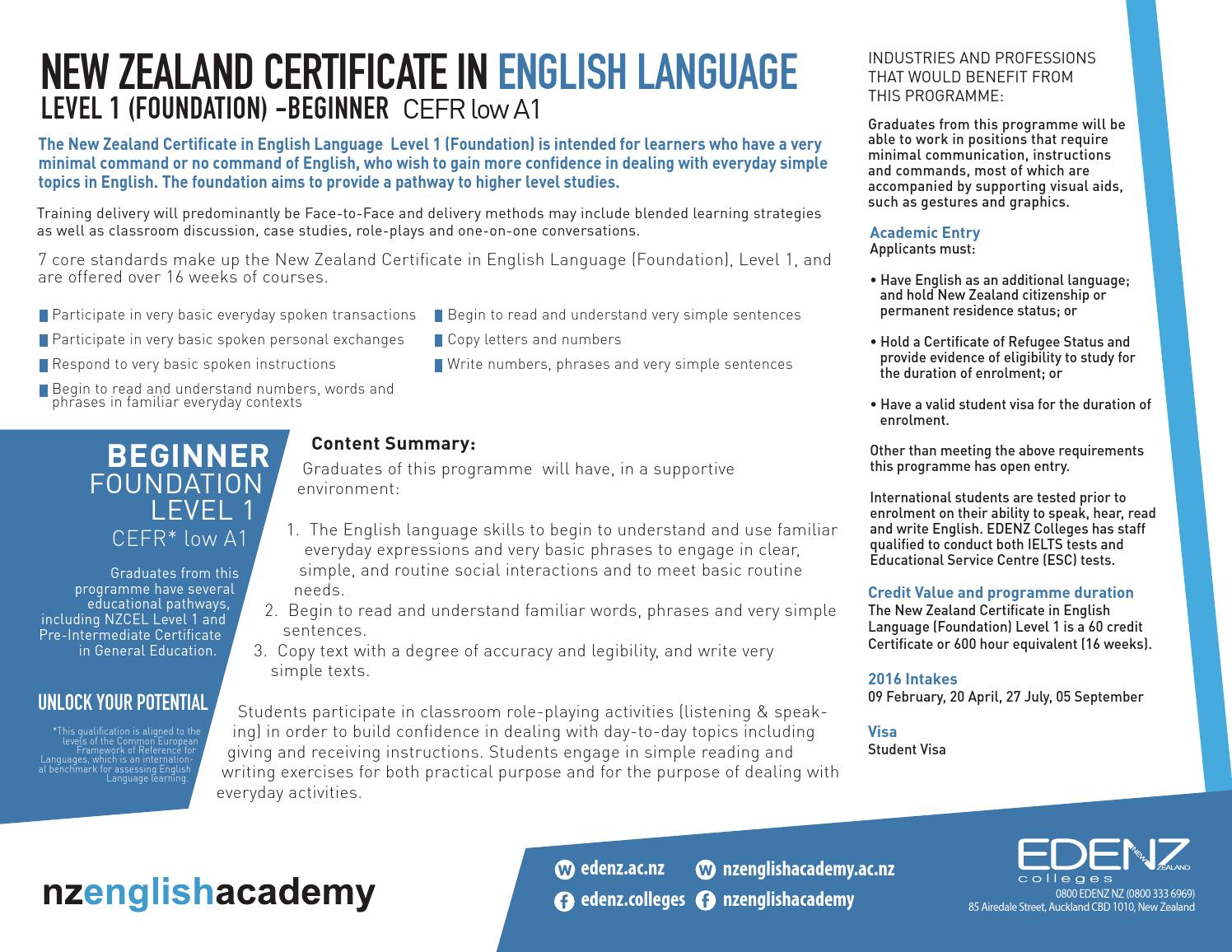 Nzcel new zealand certificate in english language by edenz nzcel new zealand certificate in english language by edenz colleges issuu yelopaper Image collections