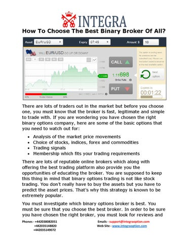Binary optionen broker 10trades