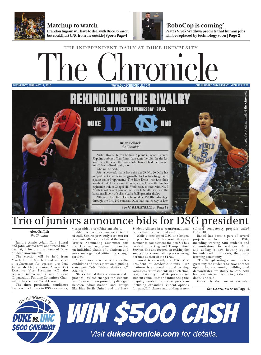 February 17 2016 By Duke Chronicle Issuu Game Show Buzzer Find Great Deals On Ebay For Quiz