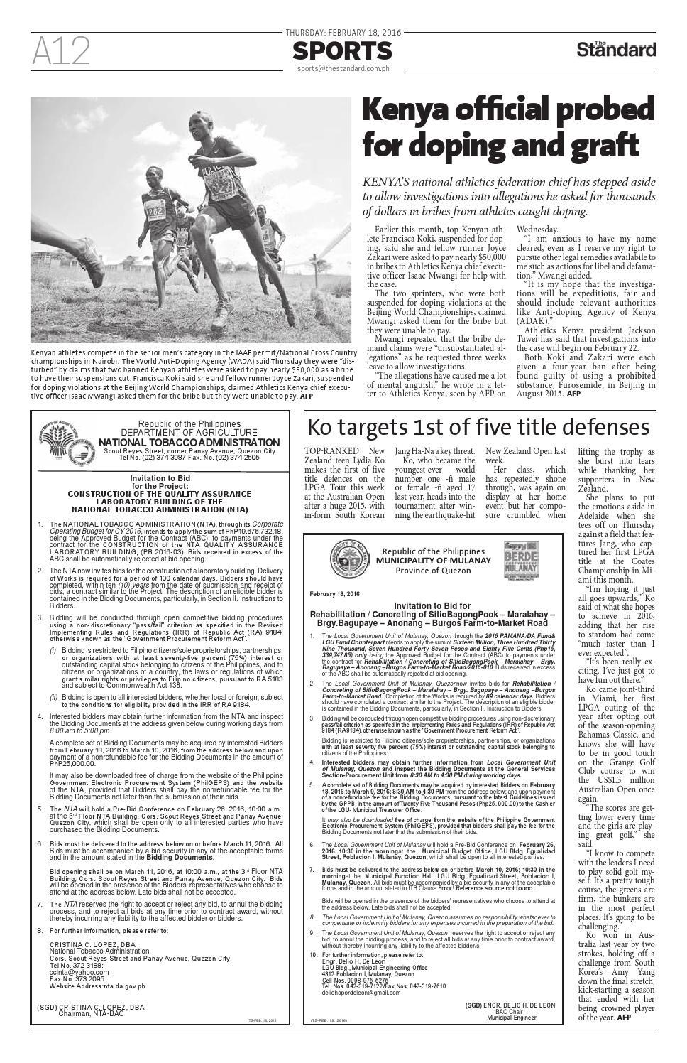 The Standard - 2016 February 18 - Thursday by Manila