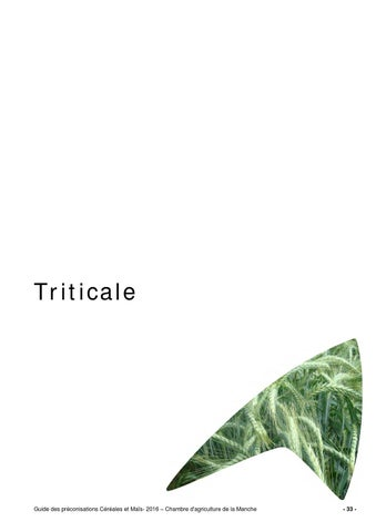 Guide triticale 2016 by chambre d 39 agriculture manche ca50 for Chambre agriculture manche