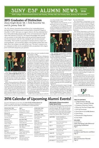 Suny Esf Academic Calendar.Esf Alumni News Winter 2016 By Suny Esf Issuu