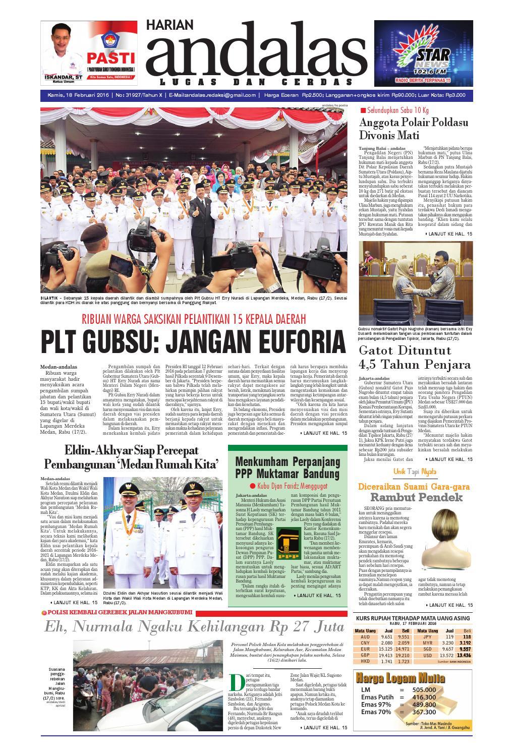 Epaper andalas edisi kamis 18 februari 2016 by media andalas - issuu f56ed93434
