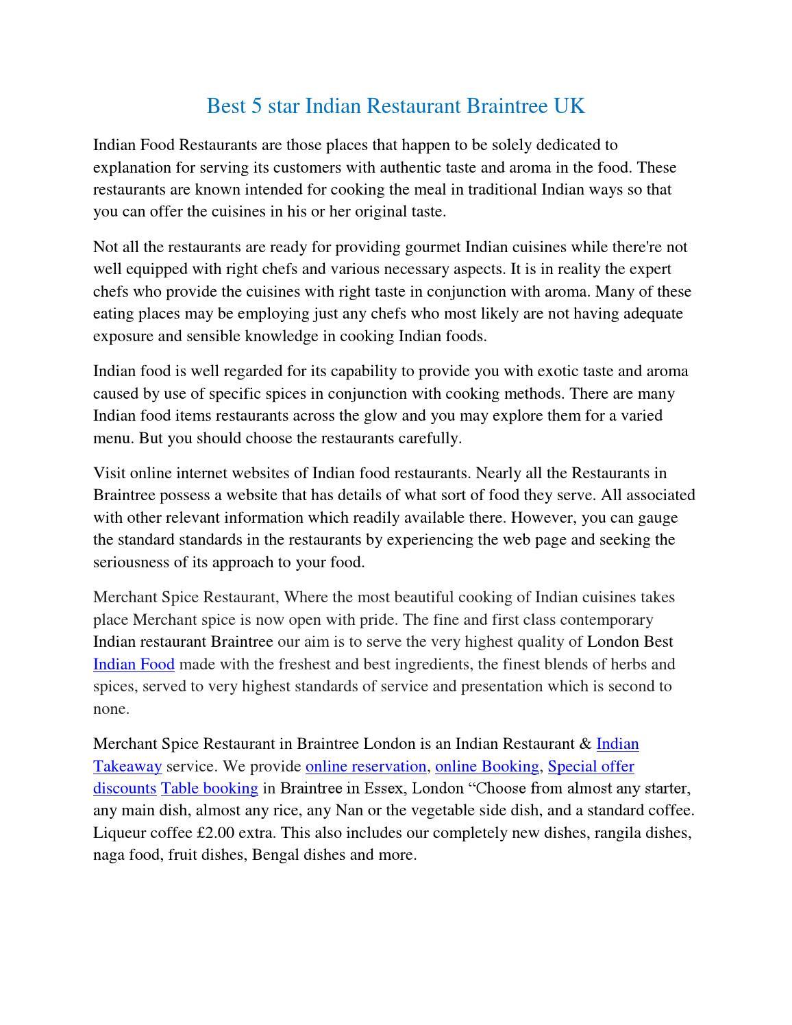 Best 5 star Indian Restaurant Braintree UK by Merchantspice