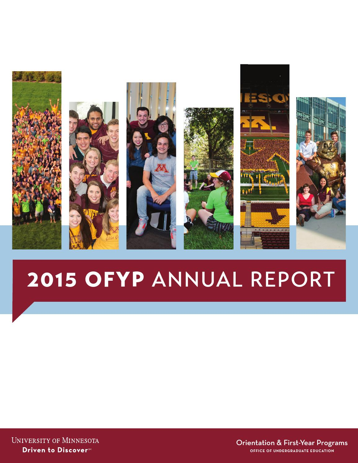 2015 Ofyp Annual Report By Orientation First Year Programs Ofyp