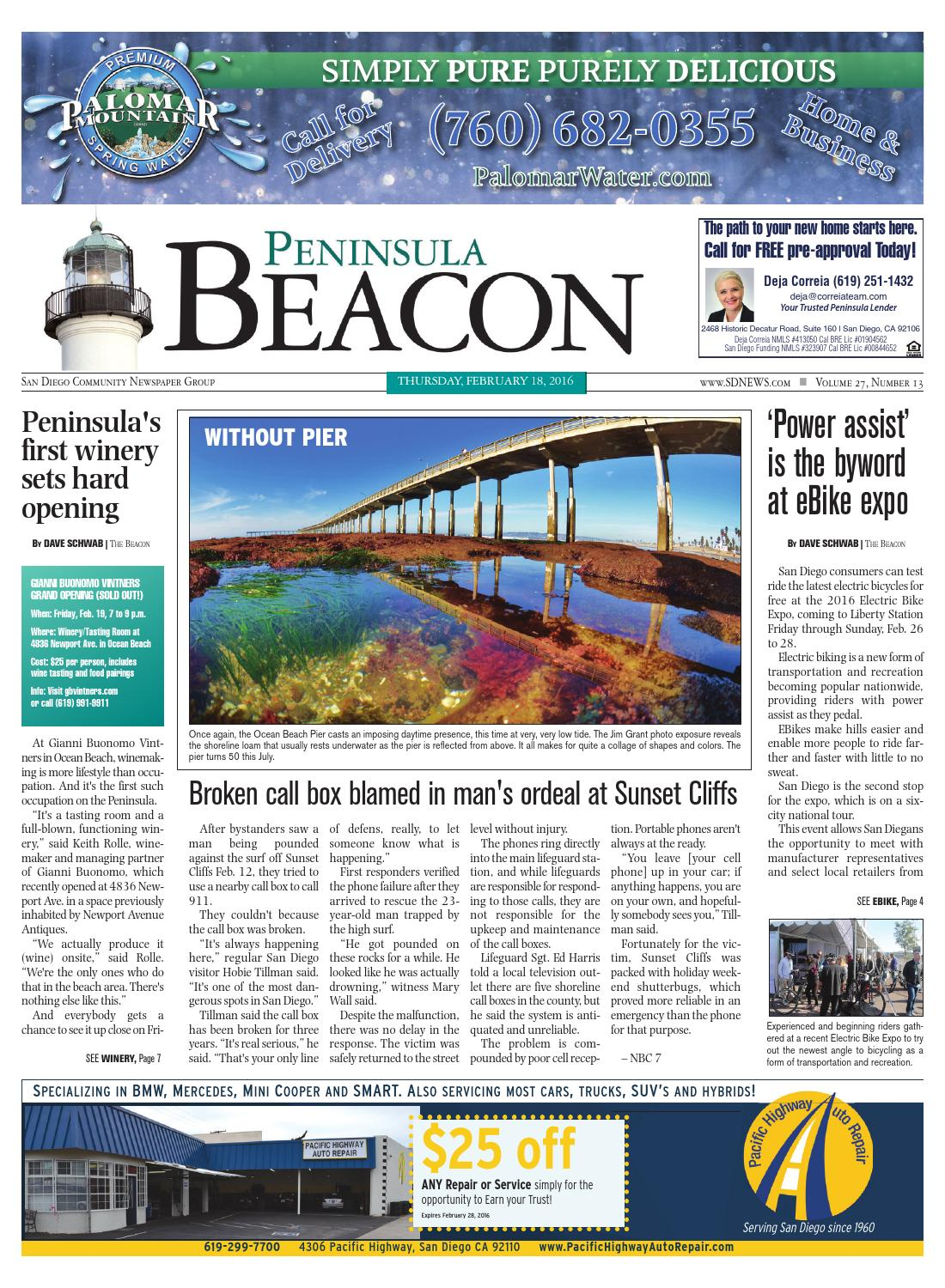 The Peninsula Beacon February 18th 2016 By San Diego