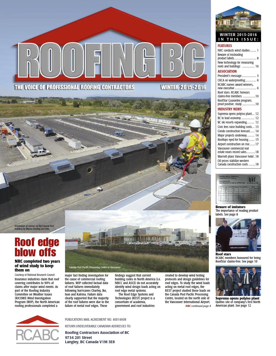 Roofingbc Winter 2015 By Rcabc Issuu