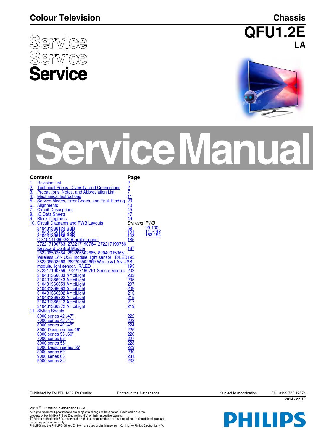 Manual De Servio Televisor Philips Modelo 40pfl8008s12 Chassis Qfu1 Download Circuit And Wiring Diagram Schematic For Qfu12e La By Portal Da Eletrnica Issuu