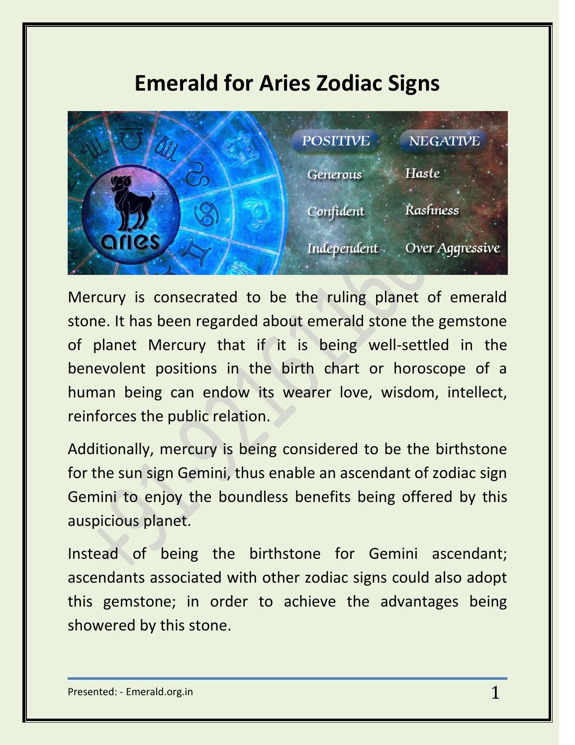 Emerald For Aries Zodiac Signs By Emerald Gemstone Issuu