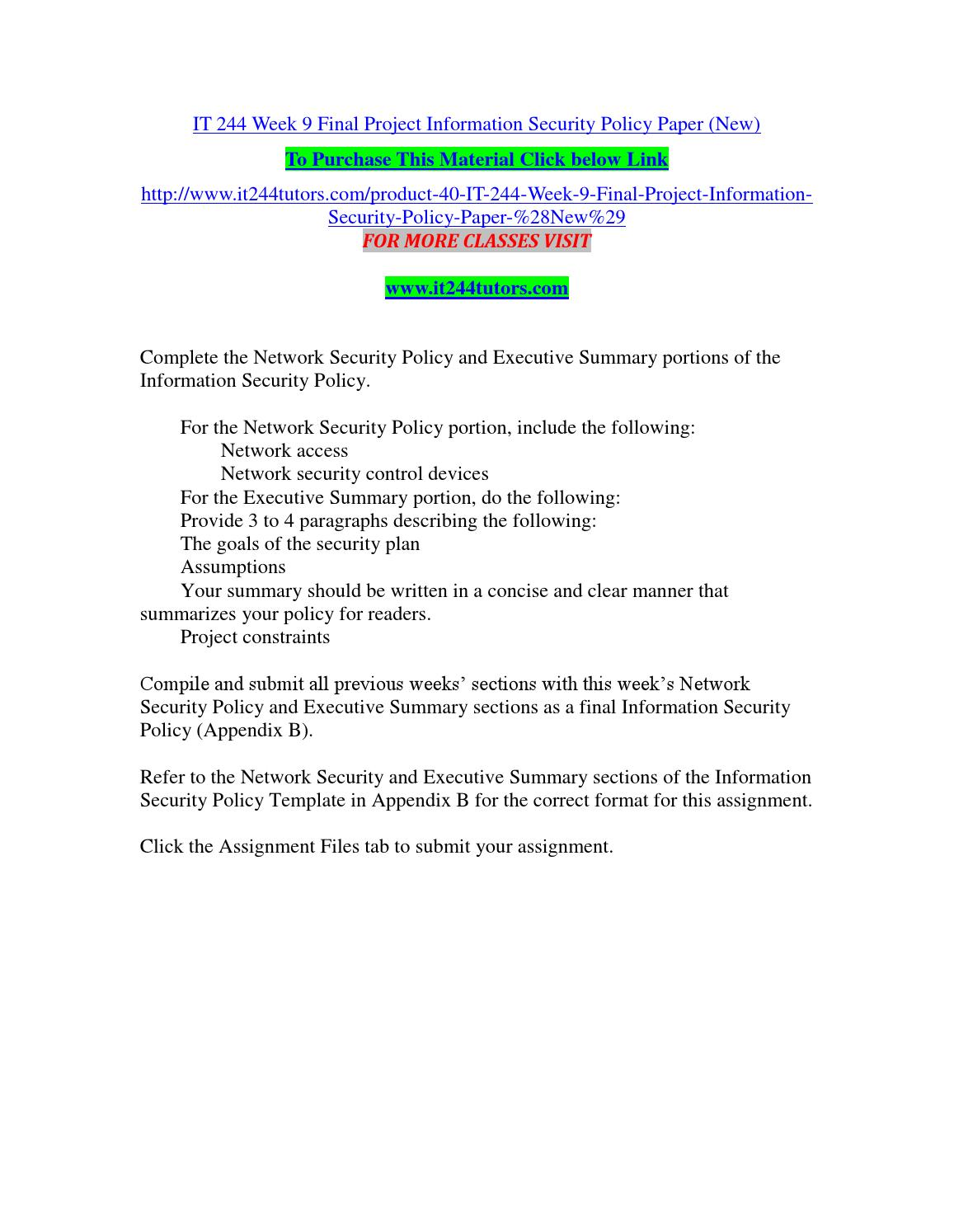 It 244 Week 9 Final Project Information Security Policy Paper New