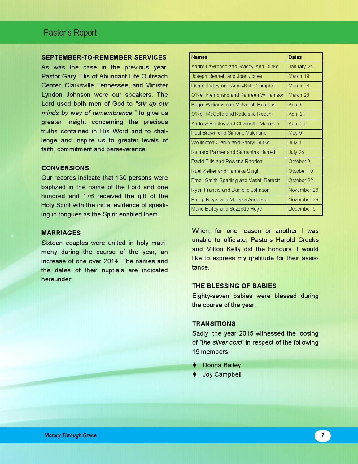 Pentecostal Tabernacle Annual Report 2015 by Pentecostal