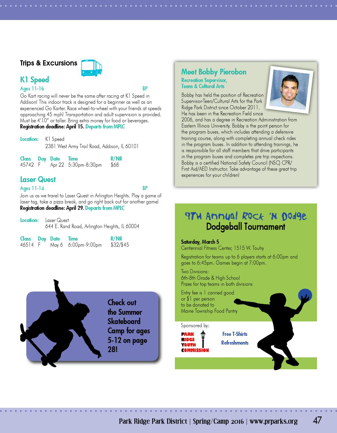 Spring Camp Brochure 2016 by Park Ridge Park District - issuu