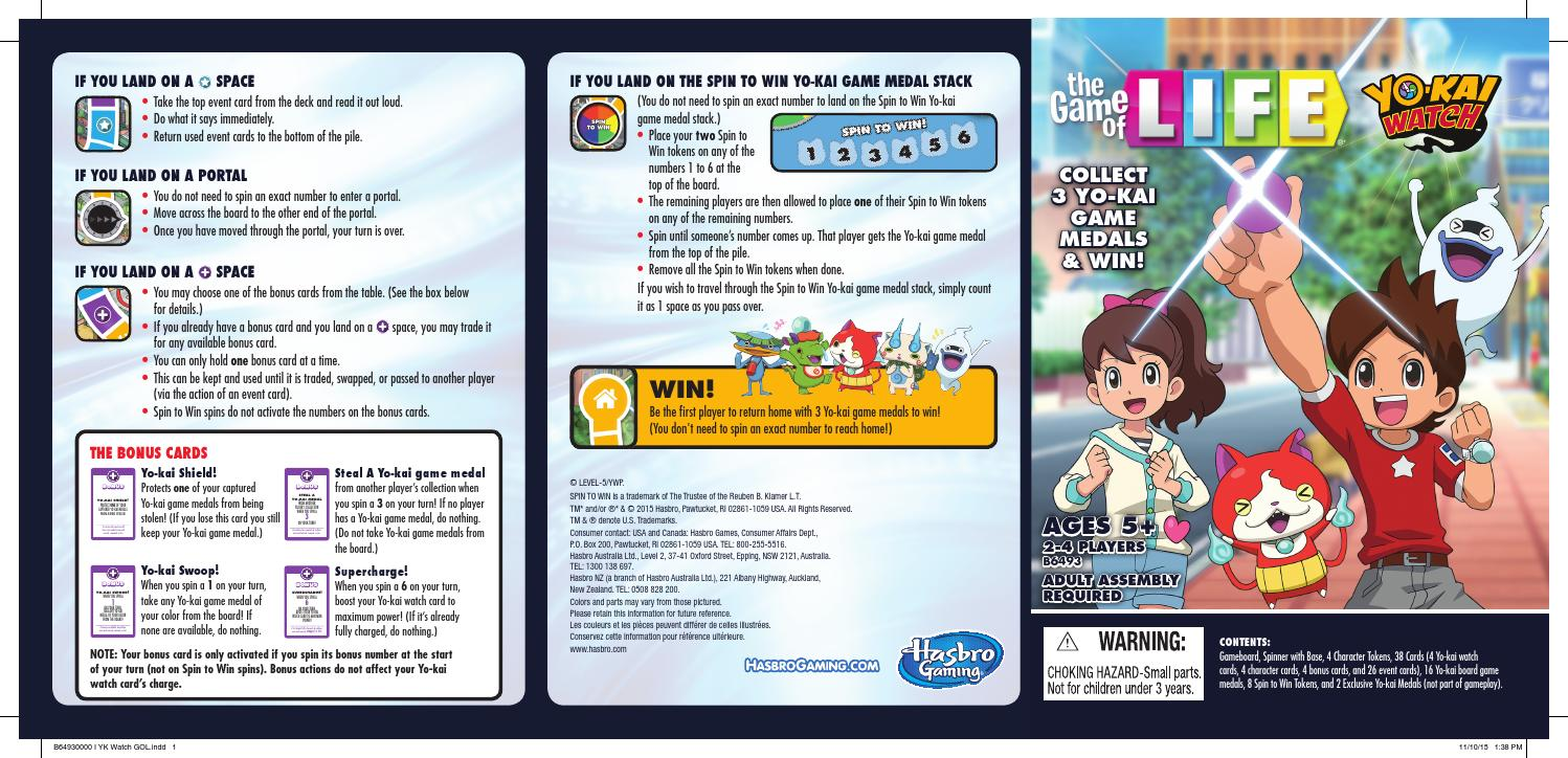 The Game Of Life Yo Kai Watch Edition Game Guide Us By