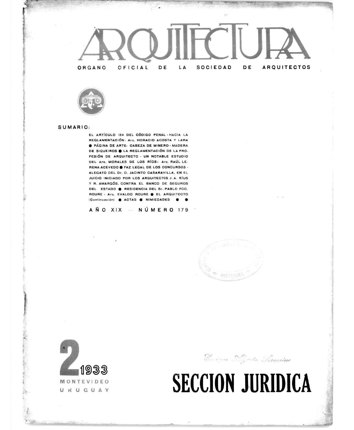 Arquitectura 179 1933 By Sociedad De Arquitectos Del Uruguay Sau  # Muebles Pascual Rius