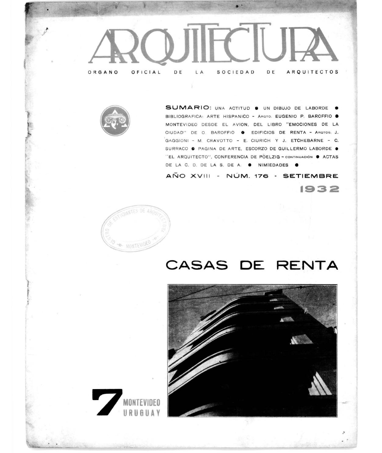 Arquitectura 176 - 1932 by Sociedad de Arquitectos del Uruguay SAU ...