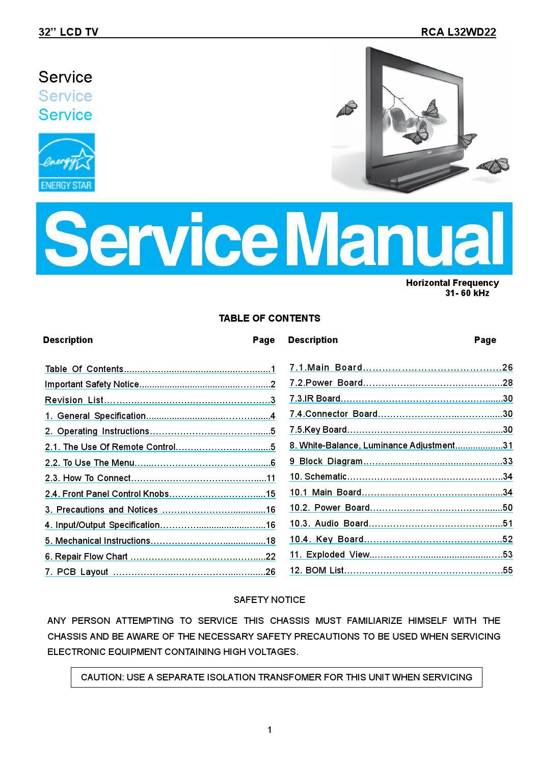 Manual De Servi U00e7o Televisor Rca Modelo L32wd22  Completo  By Portal Da Eletr U00f4nica