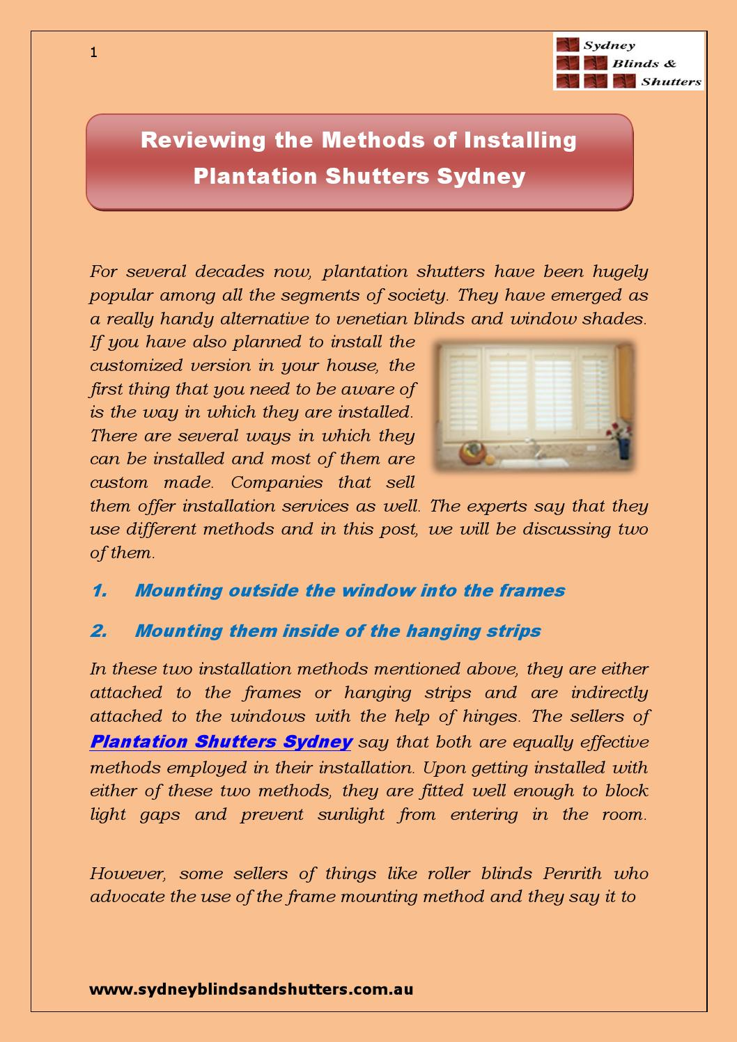 Reviewing The Methods Of Installing Plantation Shutters