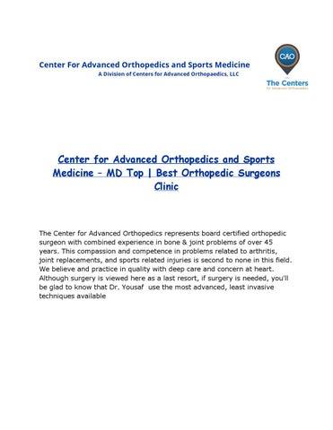 Center for Advanced Orthopedics and Sports Medicine Basic