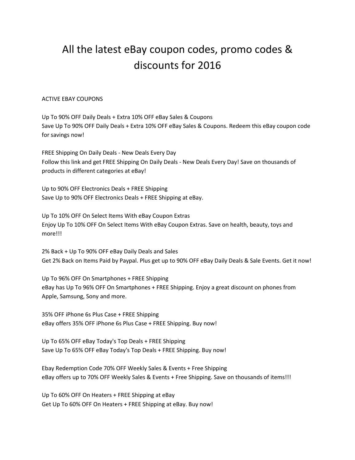 All The Latest Ebay Coupon Codes Promo Codes Discounts For 2016 By Emma Wat Son Issuu