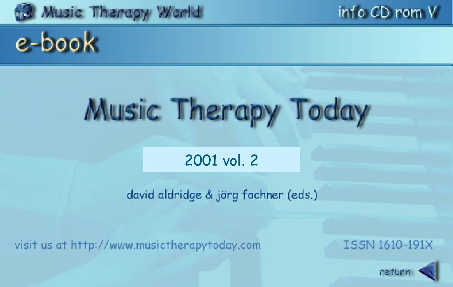 Music Therapy Today, Vol. 2, Nos. 1-2 by World Federation of Music ...