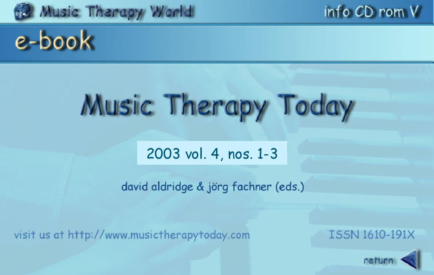Music Therapy Today, Vol. 4, Nos. 1-3 by World Federation of Music ...