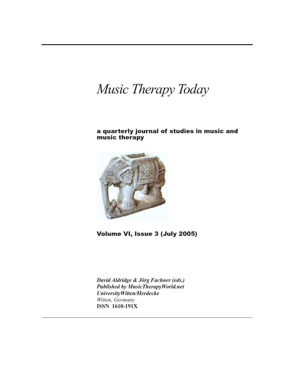 Music Therapy Today Vol 6 No 3 By World Federation Of