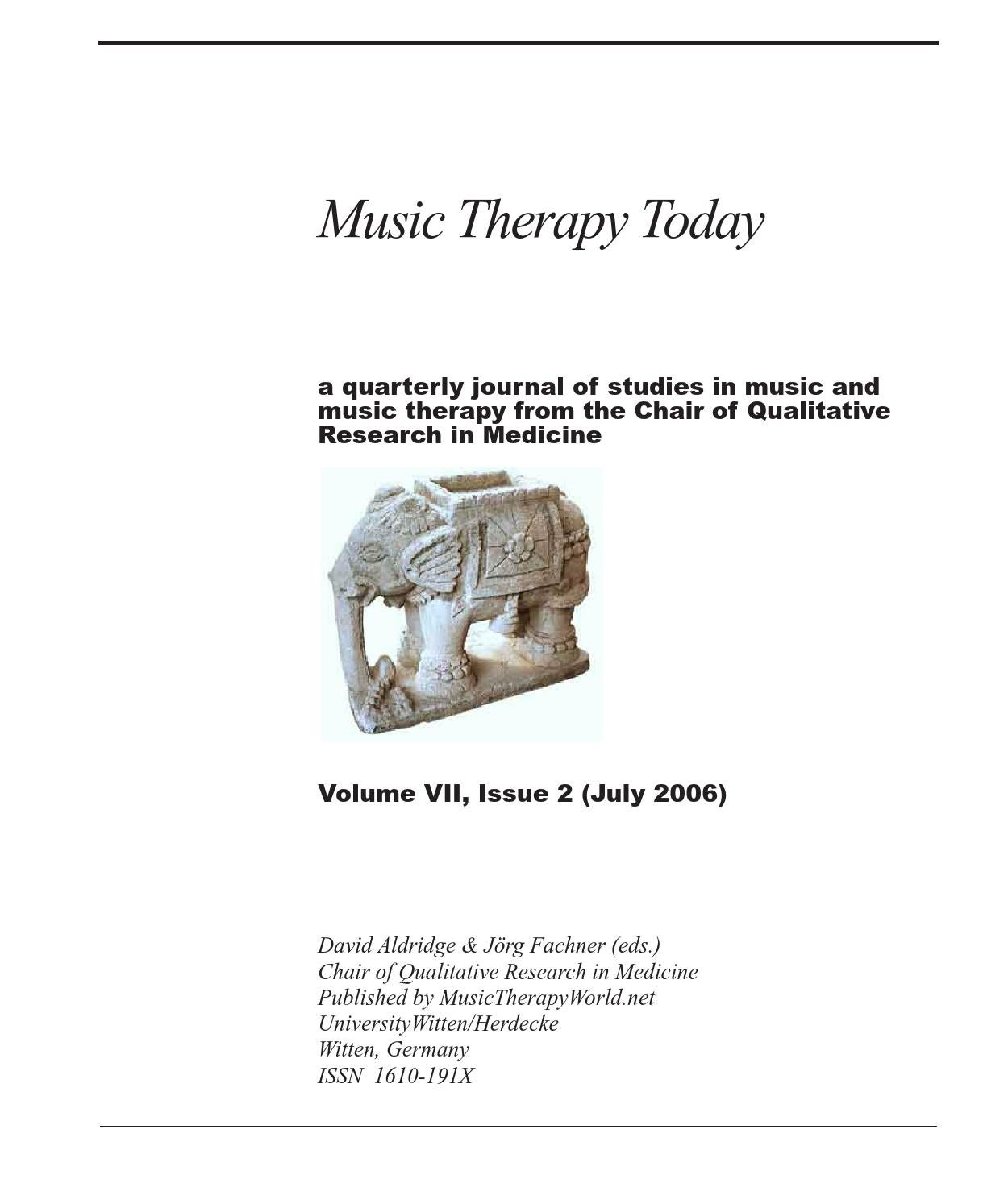 Music Therapy Today, Vol. 7, No. 2 by World Federation of Music ...