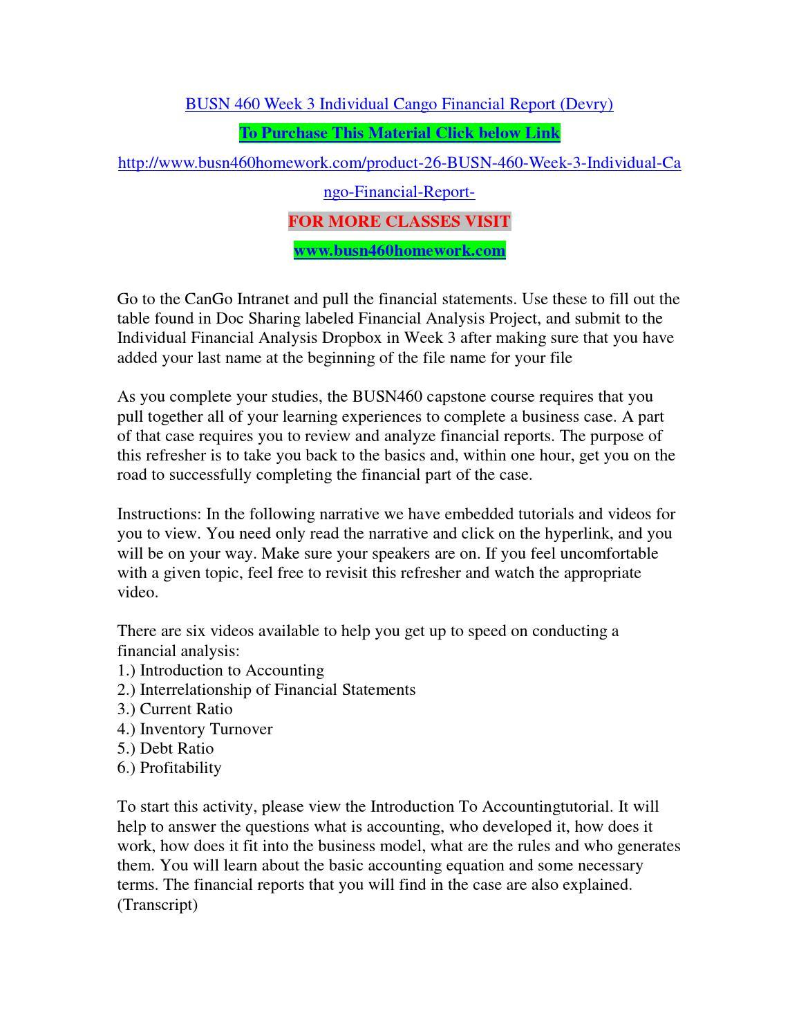 BUSN460 - Week 3 - Individual Financial Analysis Report - CanGo, Inc