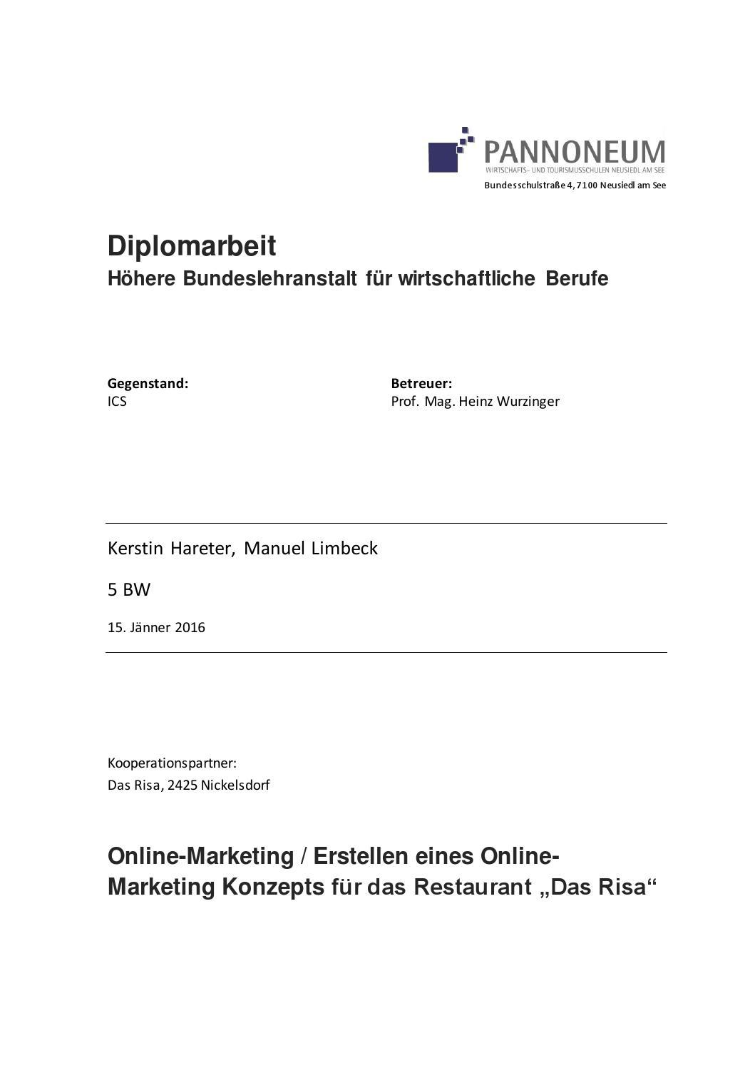 Diplomarbeit Online-Marketing/ Erstellen eines Marketingkonzepts by ...
