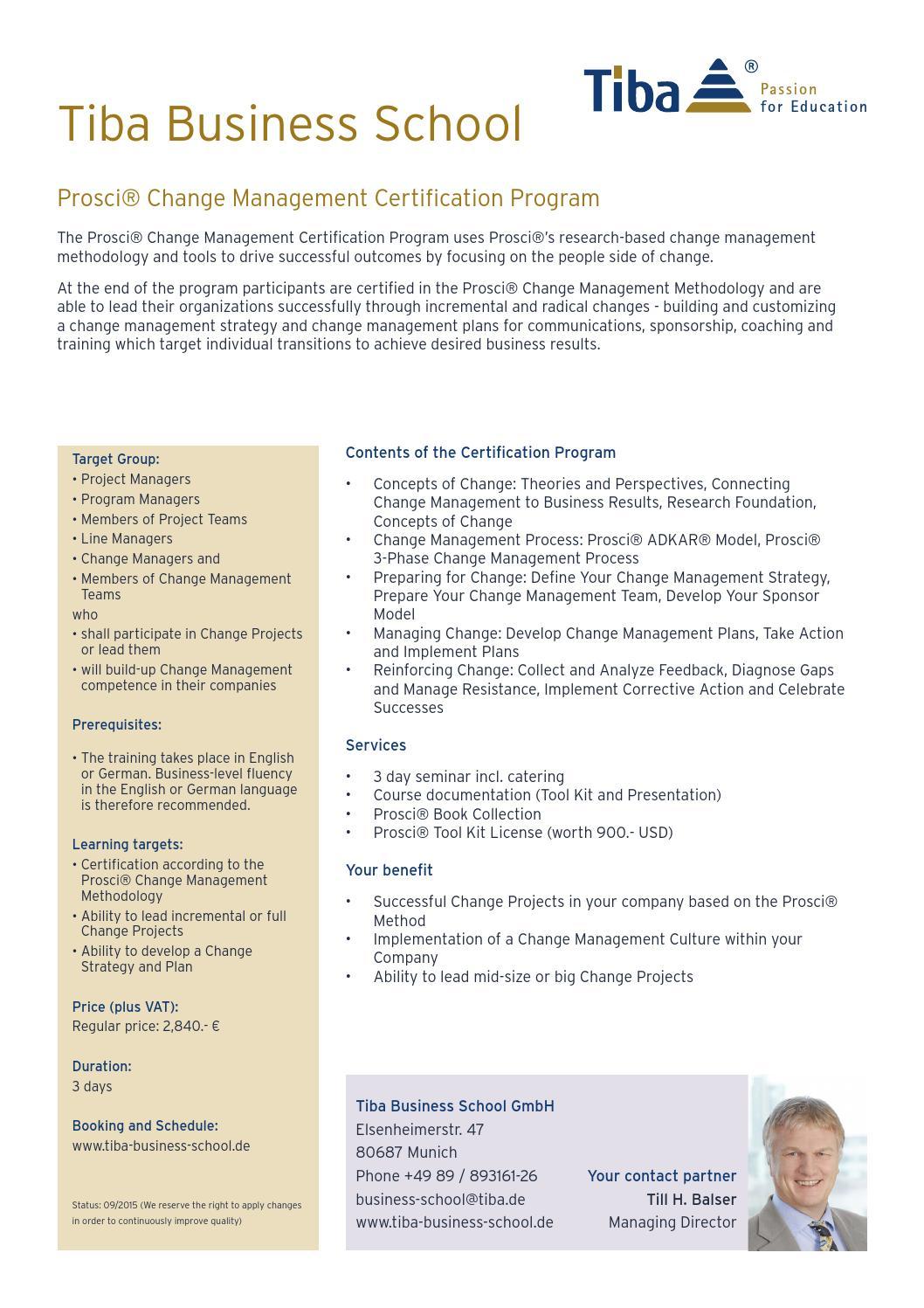 Prosci change management certification infosheet by tiba prosci change management certification infosheet by tiba managementberatung gmbh issuu 1betcityfo Images