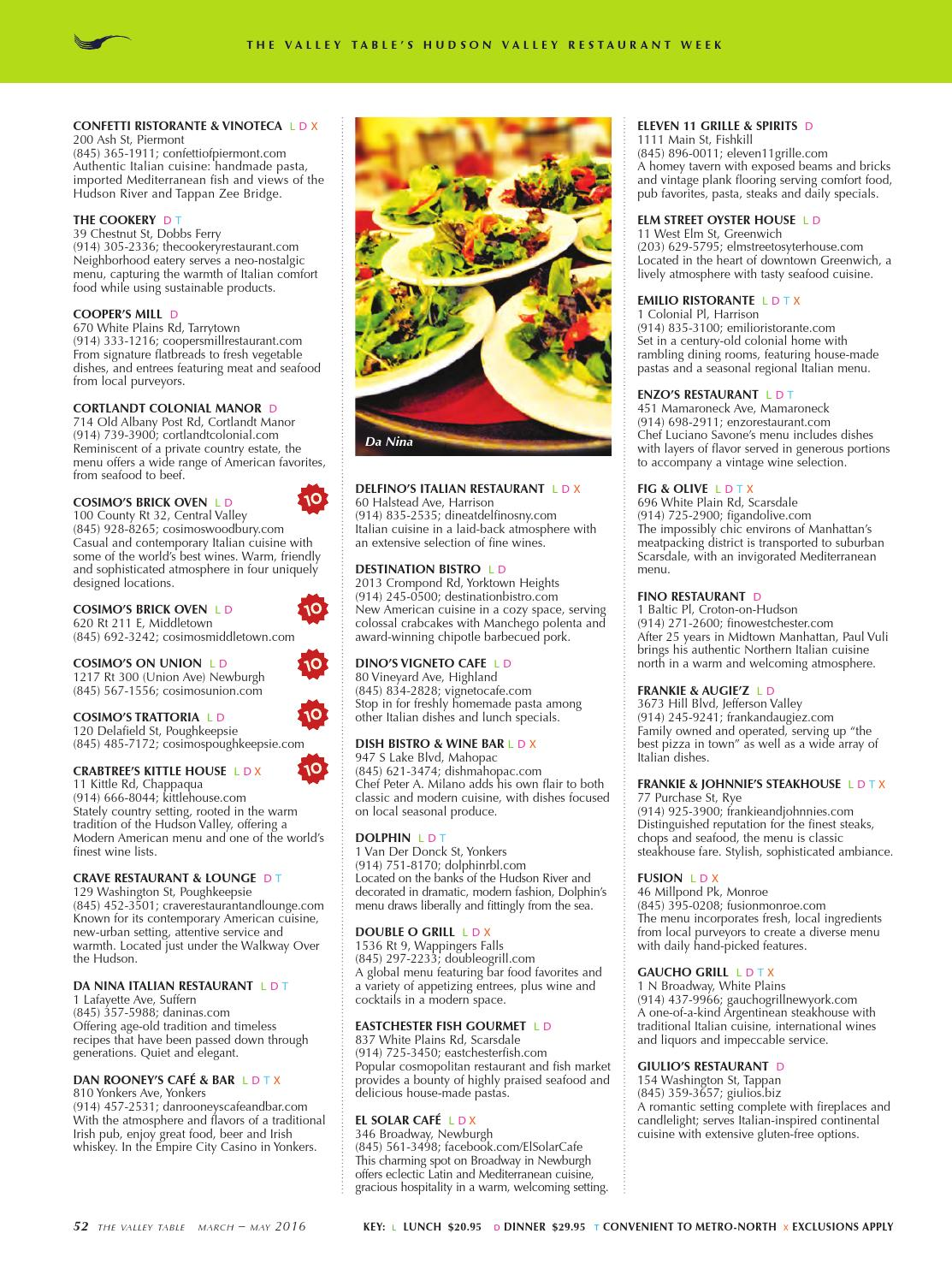 Spring 2016 Hudson Valley Restaurant Week by Valley Table