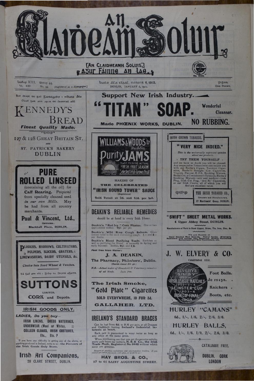 An Claidheamh Soluis Eanair Meitheamh 1912 By Conradh Na Gaeilge