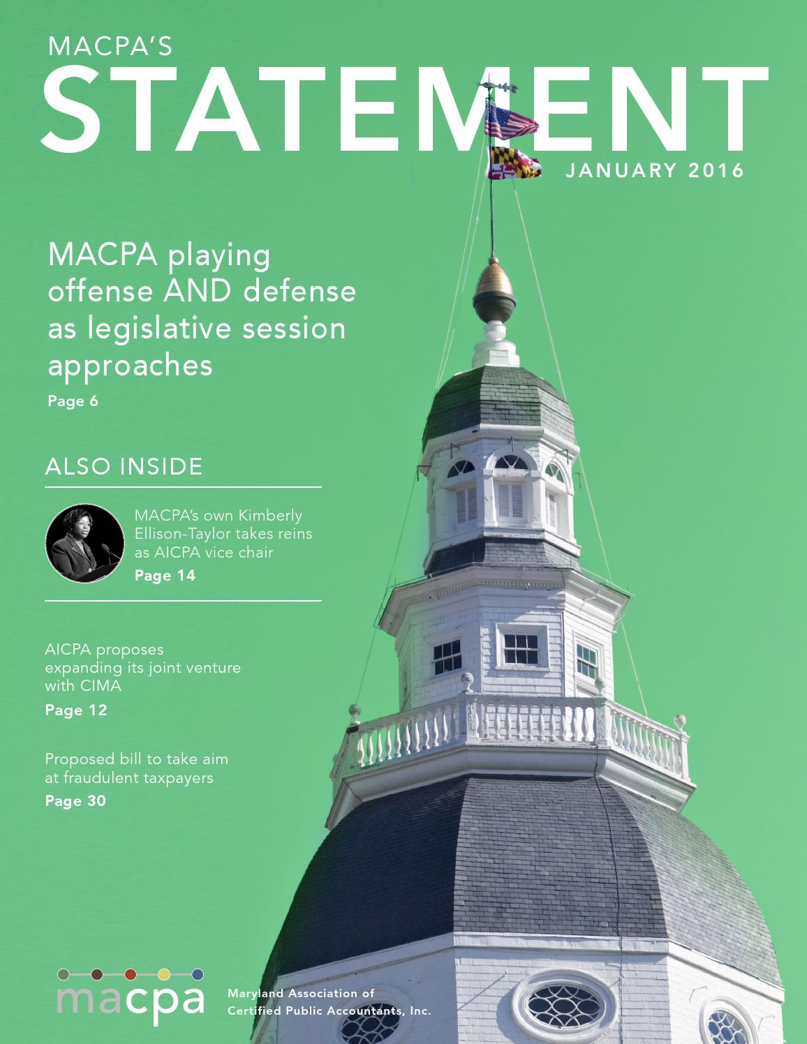 Macpa Statement January 2016 By Maryland Association Of Cpas
