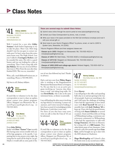 Spring 2015 class notes by Episcopal High School - issuu