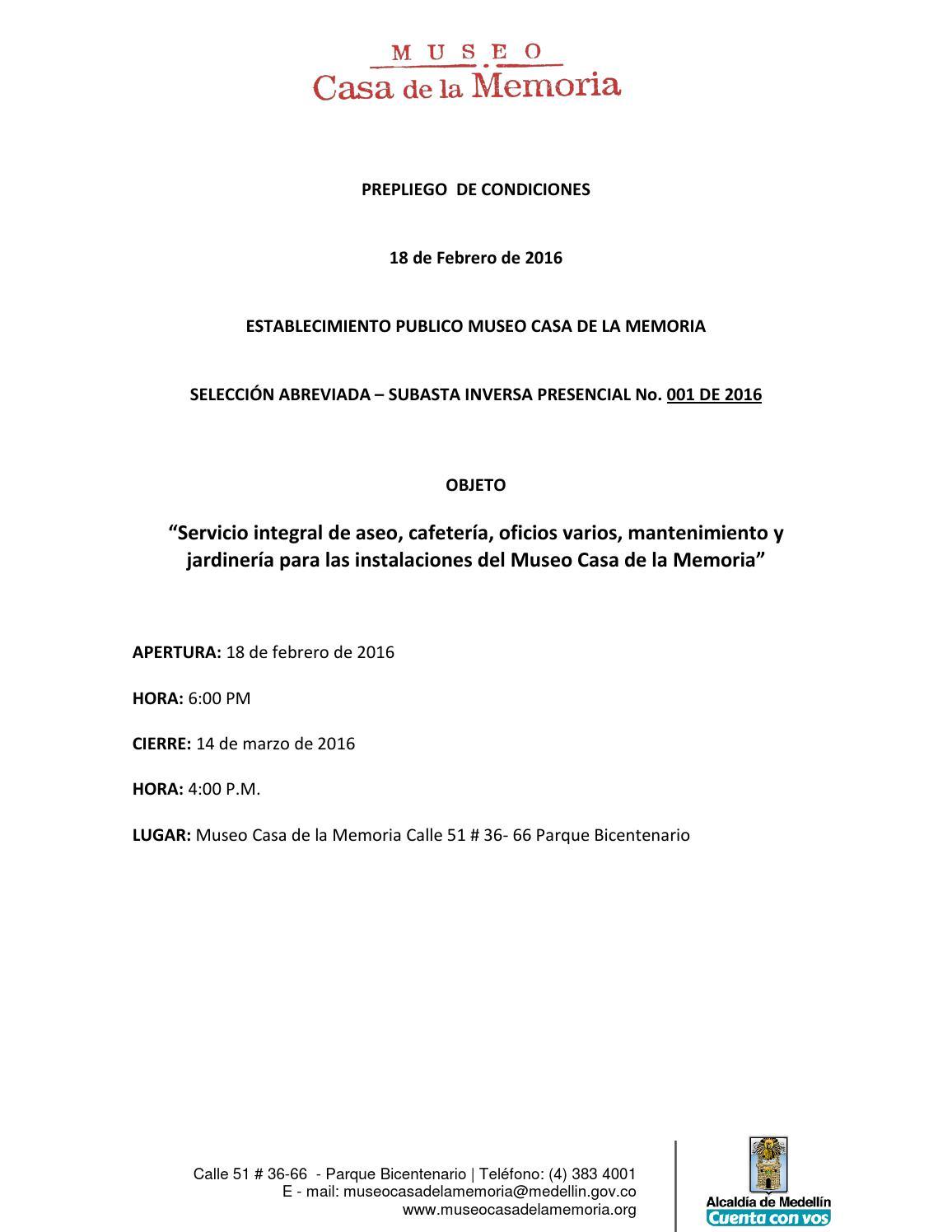 Prepliego subasta inversa aseo by museo casa de la memoria for Servicio de jardineria df