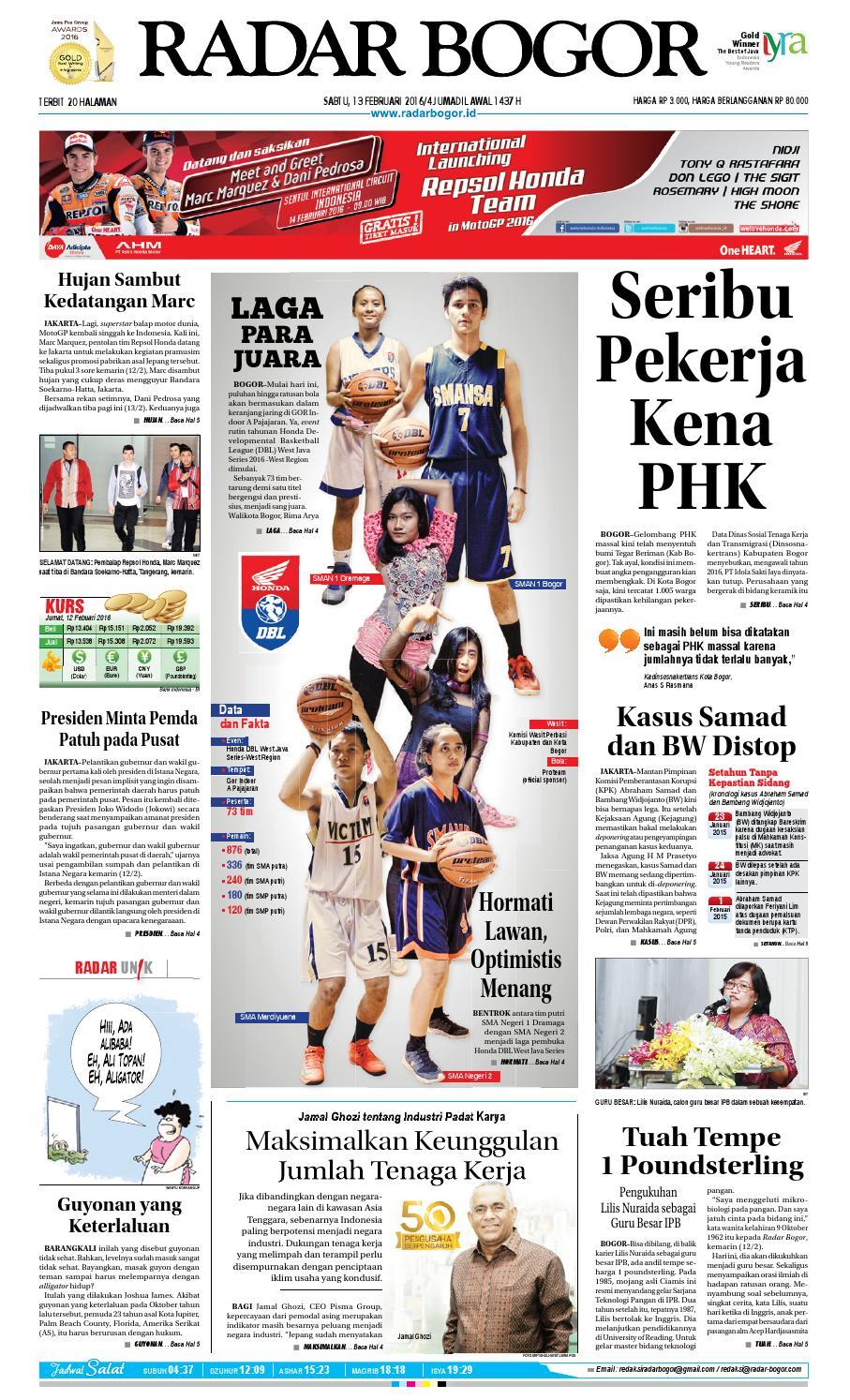 Pdf Koran Radar Bogor Tgl 13 Feb 2016 Gabung By Diaswara Rkb Bni Tegal Kranjang Buah Nur Fashion And Art Kusumawardani Issuu