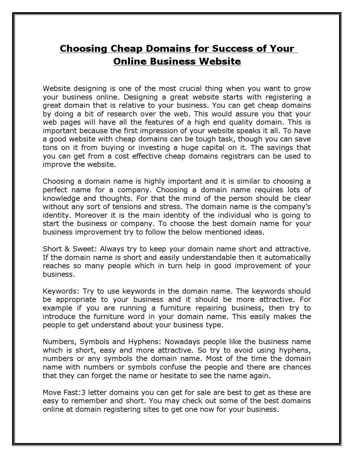 Choosing cheap domains for success of your online business website by philipwall - issuu