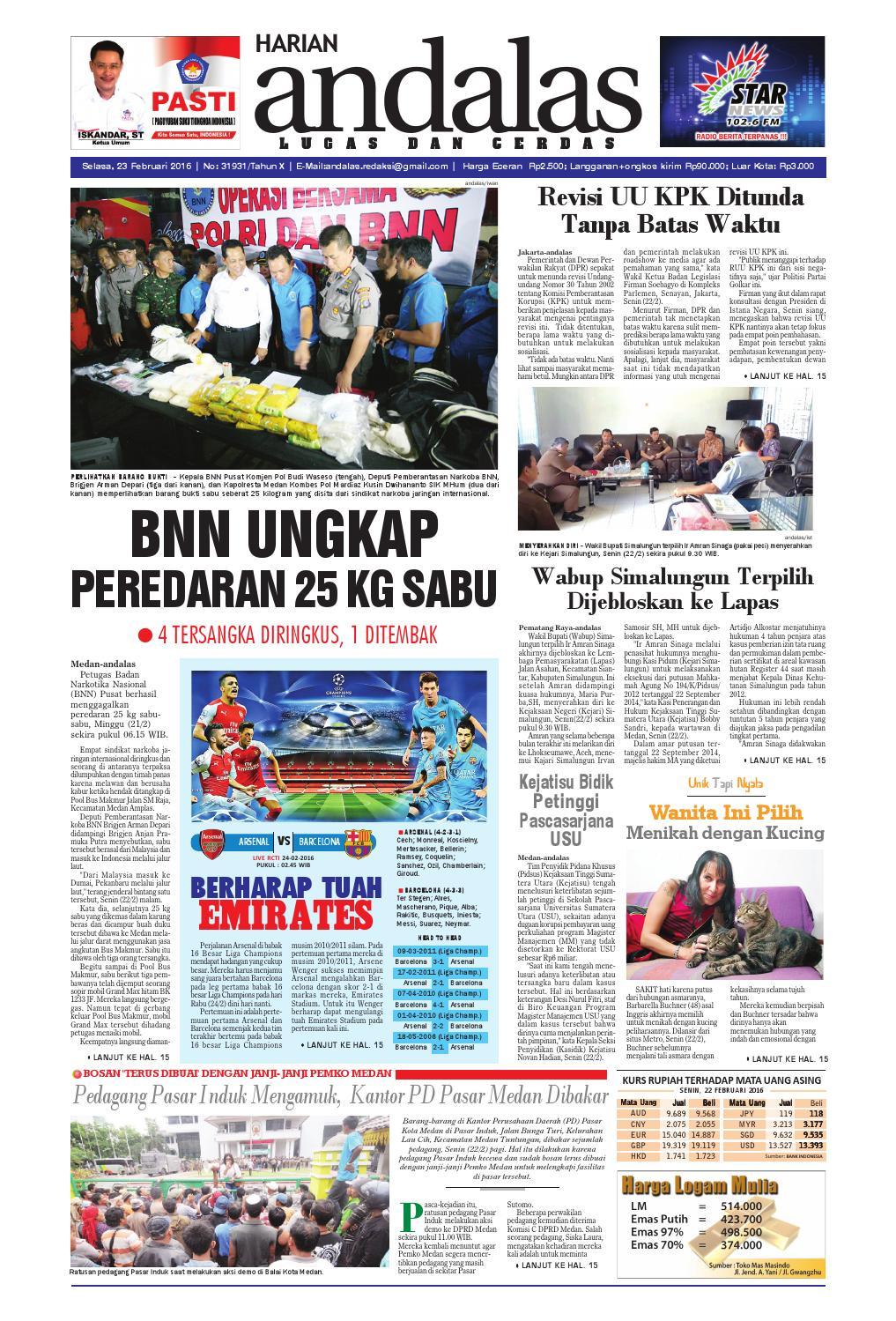 Epaper Andalas Edisi Selasa 23 Februari 2016 By Media Issuu Gendongan Bayi Depan Mbg 6201 Free Ongkir Jabodetabek