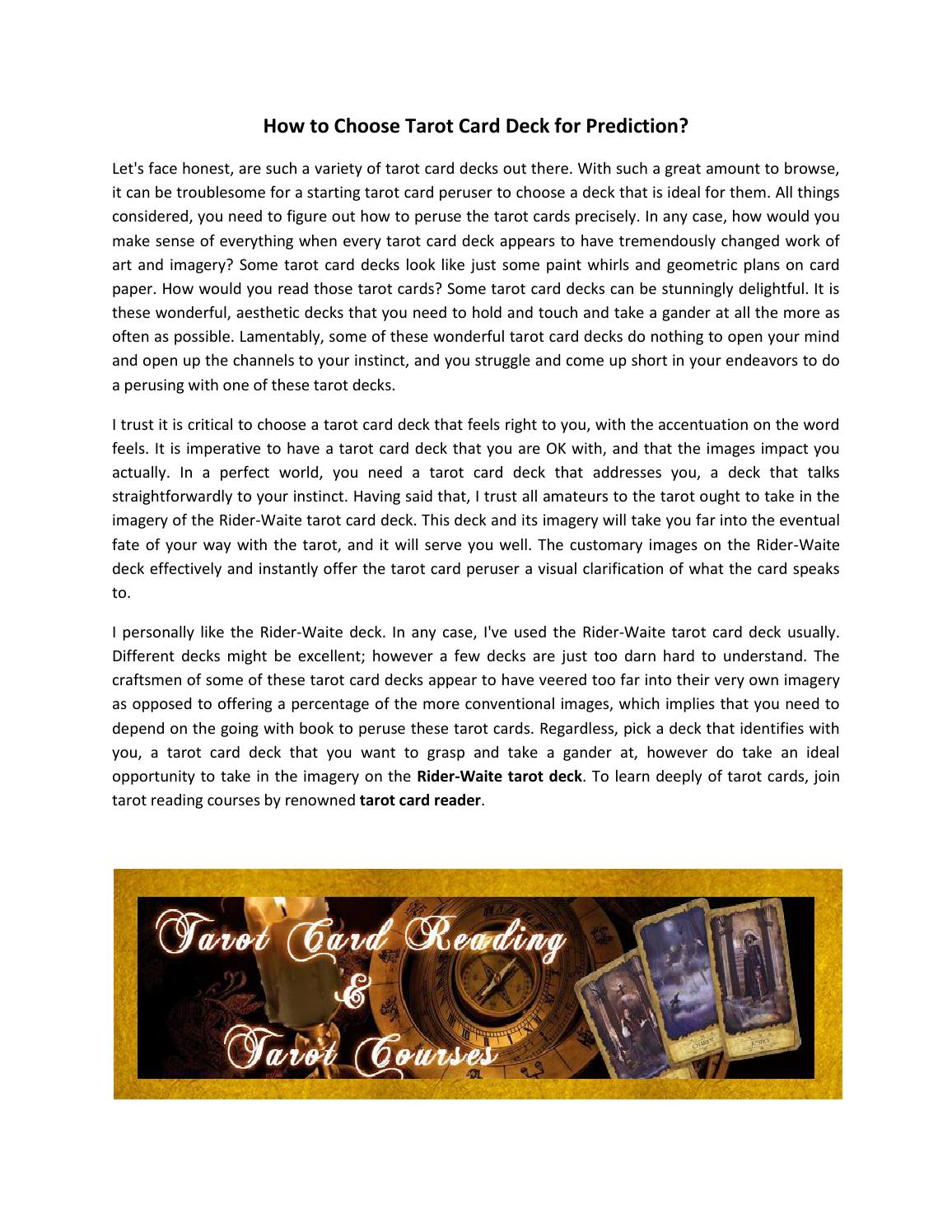Learn About Tarot Decks In Tarot Reading Courses By Isads