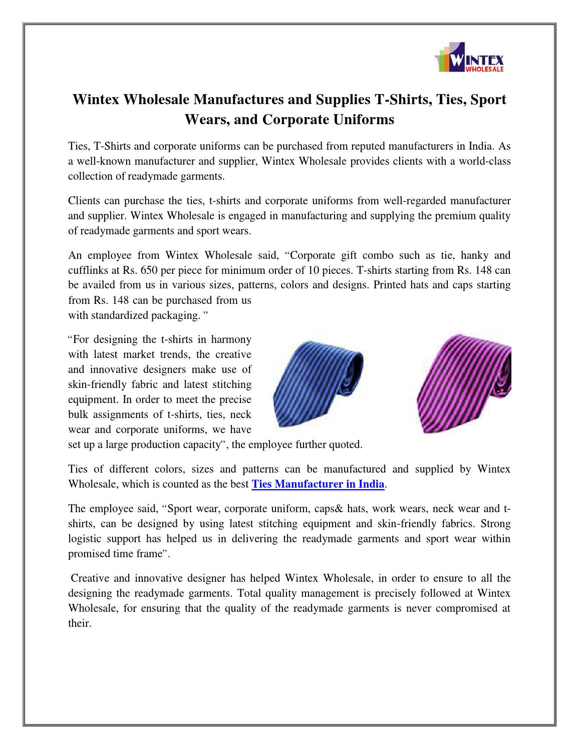 Wintex wholesale manufactures and supplies t shirts, ties, sport