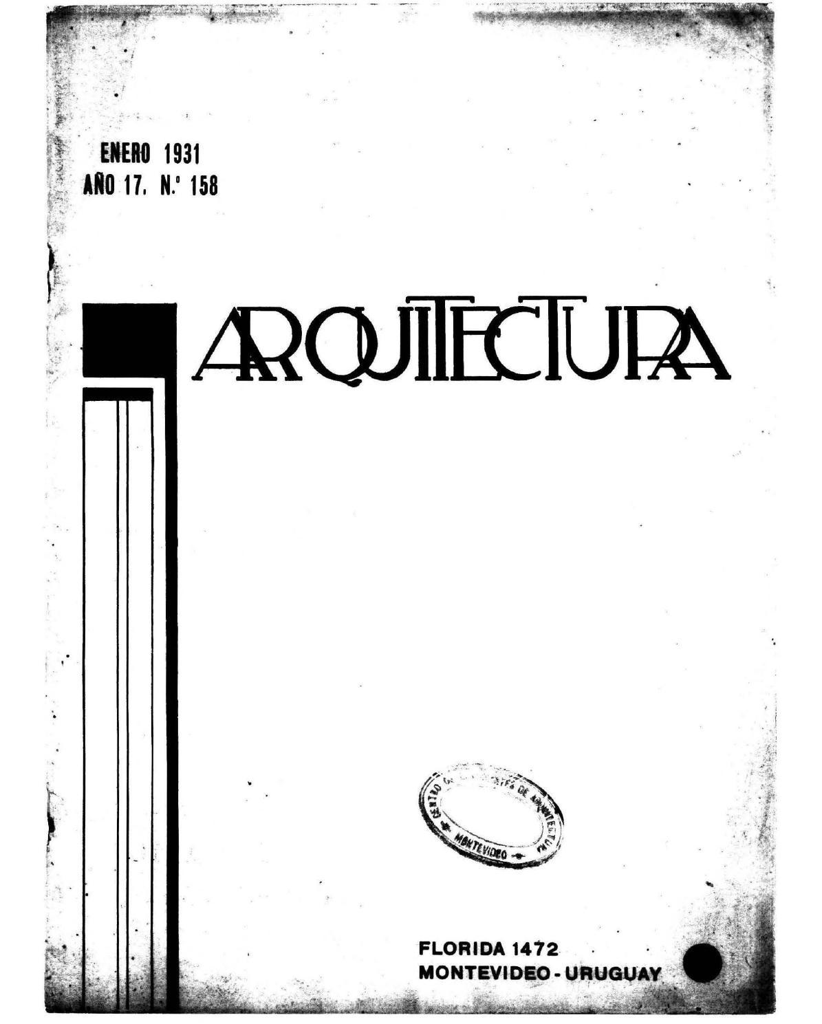 Arquitectura 158 1931 By Sociedad De Arquitectos Del Uruguay Sau  # Mateo Muebles Cutral Co