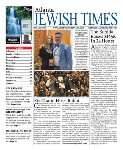 Atlanta Jewish Times, Vol  XCI No  8, February 26, 2016 by
