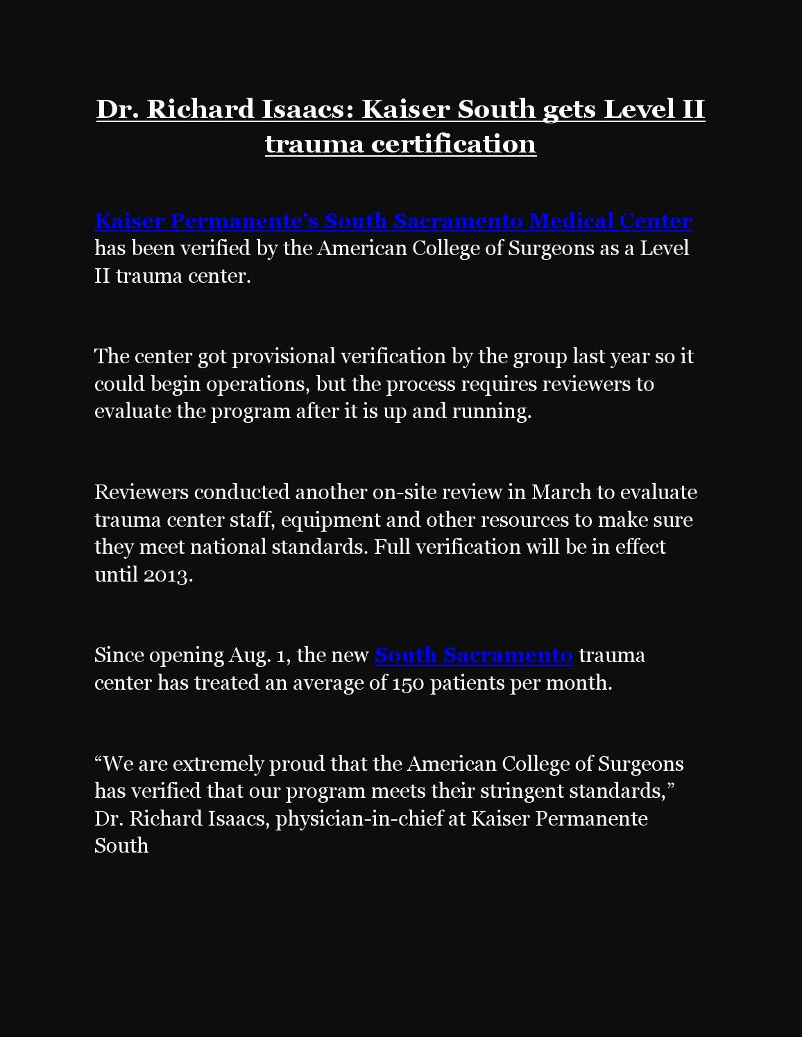 Dr richard isaacs kaiser south gets level ii trauma certification dr richard isaacs kaiser south gets level ii trauma certification by bailey williams issuu xflitez Images