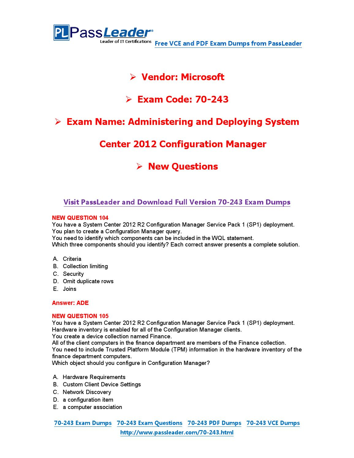 Feb-2016] New 70-243 Exam Dumps For Free (VCE and PDF) by