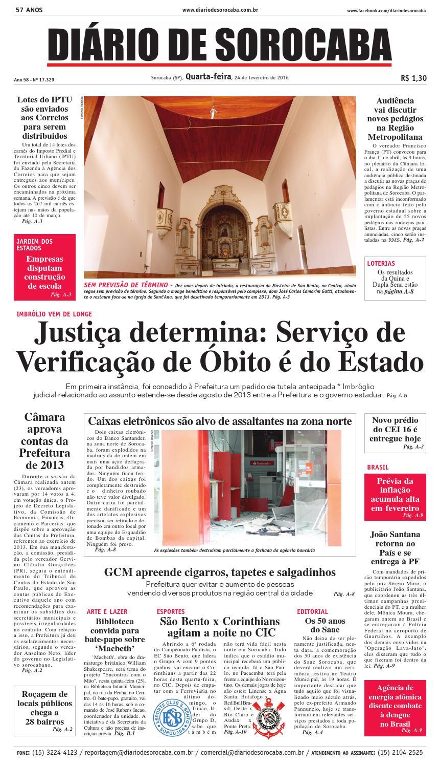 45fed93ae0 Edição de 24 de fevereiro de 2016 by DIÁRIO DE SOROCABA - issuu