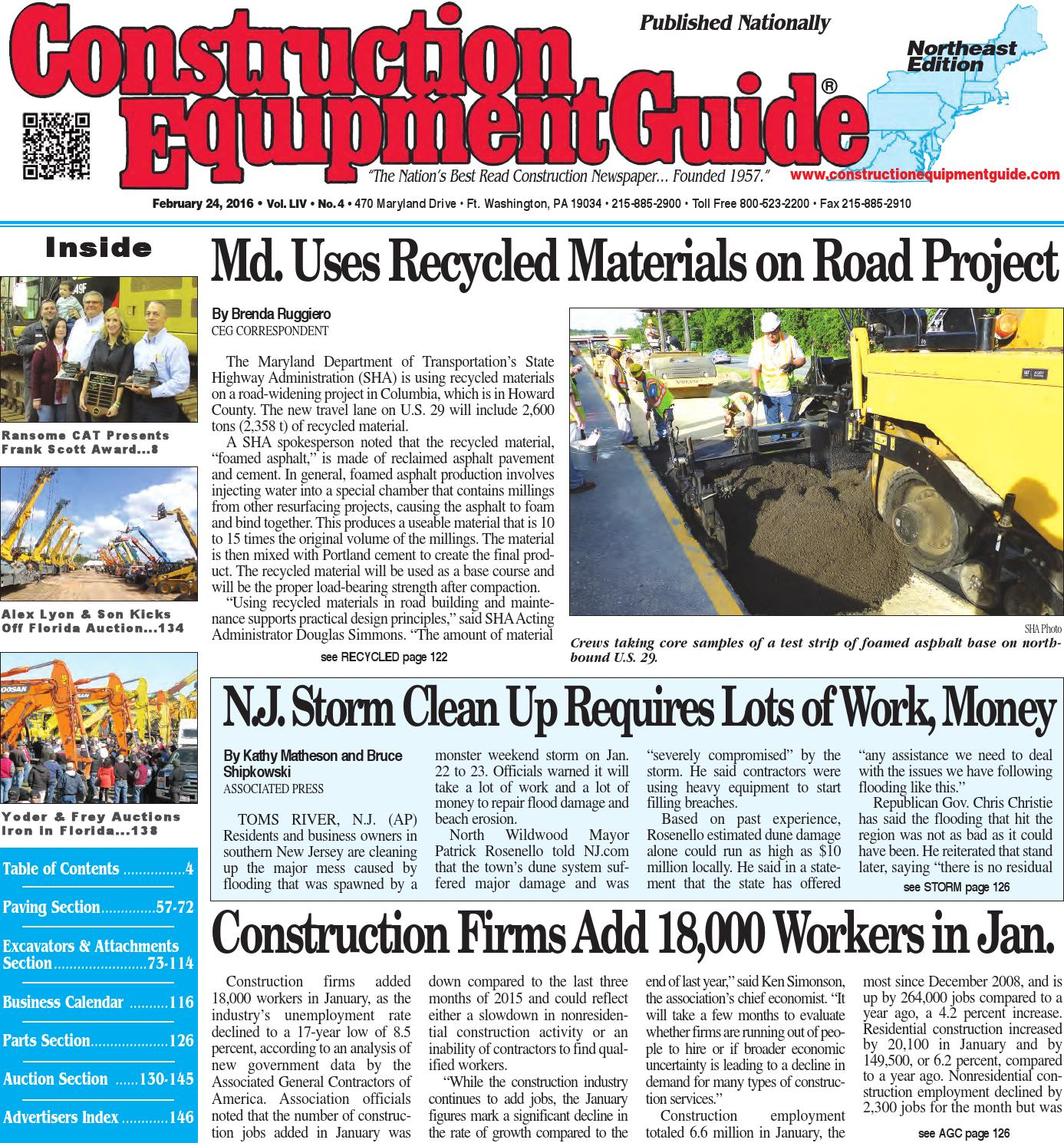 Northeast 04 2016 by Construction Equipment Guide - issuu